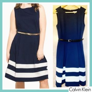 Calvin Klein Navy Blue /White A-Line Pleated Dress